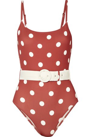 Solid & Striped   The Nina belted polka-dot swimsuit   NET-A-PORTER.COM