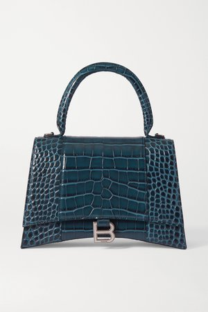 Blue Hourglass croc-effect leather tote | Balenciaga | NET-A-PORTER