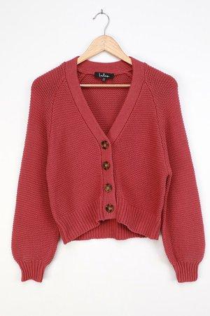 Rusty Rose Cardigan - Knit Cardigan Sweater - Short Cardigan - Lulus