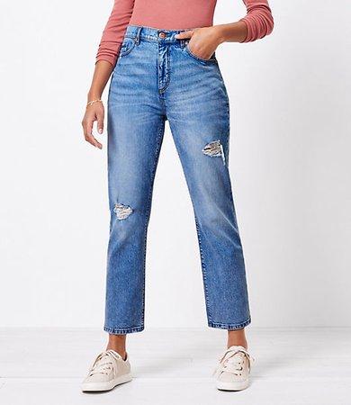 The Destructed High Waist Straight Crop Jean in Authentic Light Indigo Wash