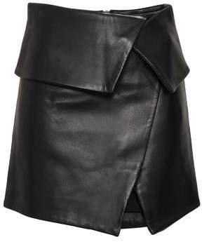 Wrap-effect Leather Mini Skirt