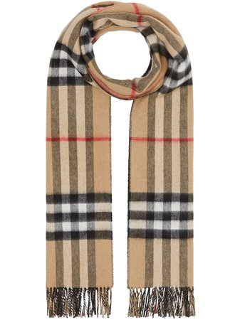 Shop black Burberry reversible check cashmere scarf with Express Delivery - Farfetch