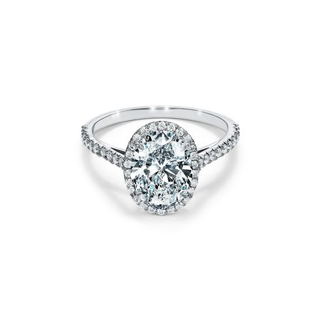 Tiffany Soleste Oval Halo Engagement Ring with a Diamond Platinum Band