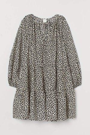 Puff-sleeved Dress - Beige