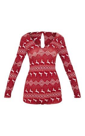 Red Fairisle Romper | Nightwear & Onesies | PrettyLittleThing USA