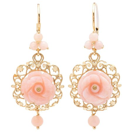 Dolce and Gabbana Pink Jade and 18 Karat Gold Earrings