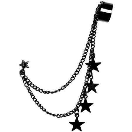 Black star earring cuff 1