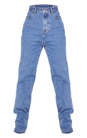 Mid Blue Wash Long Leg Straight Jeans   Denim   PrettyLittleThing USA