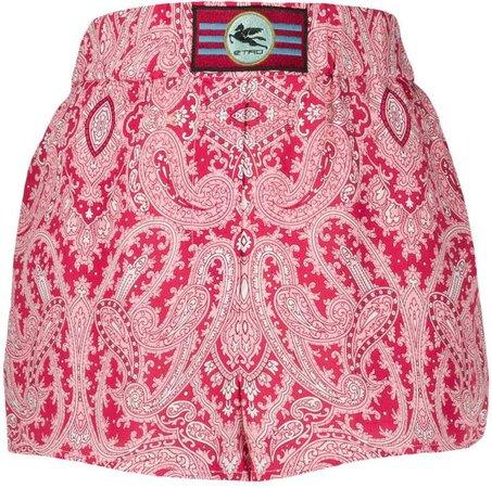 paisley-print slip-on shorts