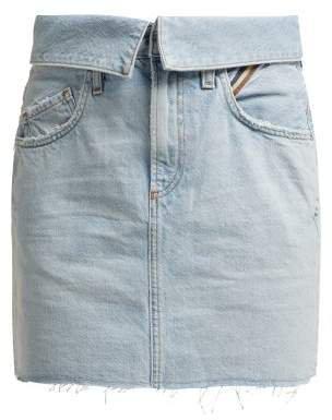 Jean Flip Fold Over Denim Mini Skirt - Womens - Denim