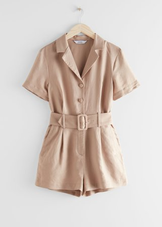 Belted Linen-Blend Romper - Beige - Jumpsuits & Playsuits - & Other Stories