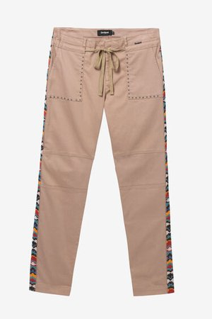 Straight leg trousers with side strips | Desigual.com