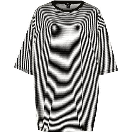 Black stripe oversized t-shirt   River Island