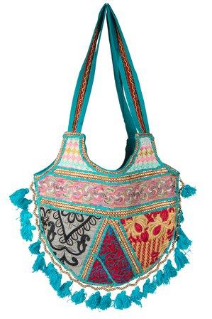Tribe Azure - Women Casual Blue Tote Tassel Pom Pom Beaded Unique Purse Shoulder Bag Hippie Boho Fashion Summer - Walmart.com - Walmart.com