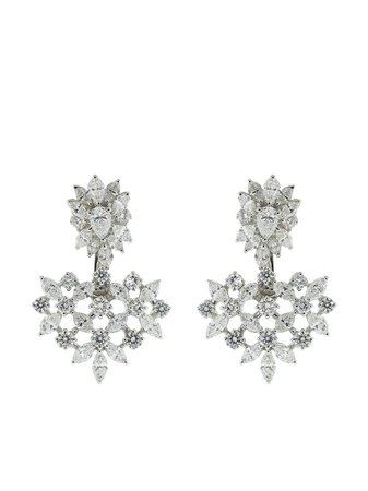 Shop silver Yeprem 18kt white gold diamond drop earrings with Express Delivery - Farfetch