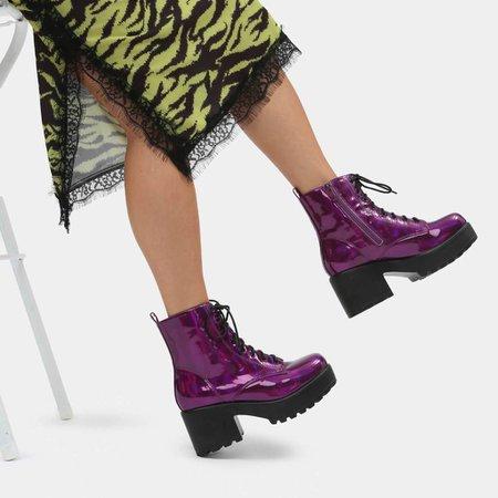 Mizore Purple Hologram Military Boots | Koi