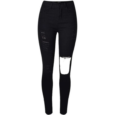 Cut Out Knee Skinny Jeans Black