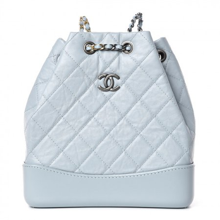 CHANEL Aged Calfskin Quilted Small Gabrielle Backpack Light Blue 382433