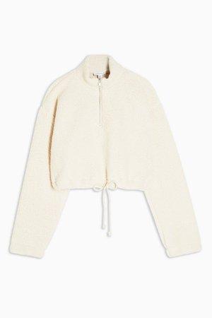 Cream Crop Funnel Borg Sweatshirt | Topshop cream