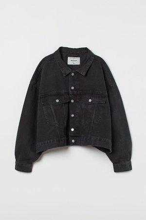 H&M+ Oversized Denim Jacket - Black - Ladies   H&M US