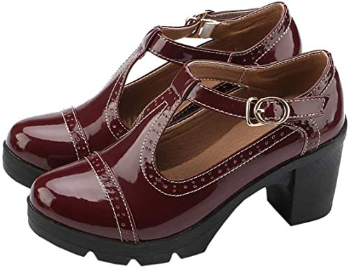 Amazon.com   DADAWEN Women's Classic T-Strap Platform Mid-Heel Square Toe Oxfords Dress Shoes Black US Size 9   Pumps