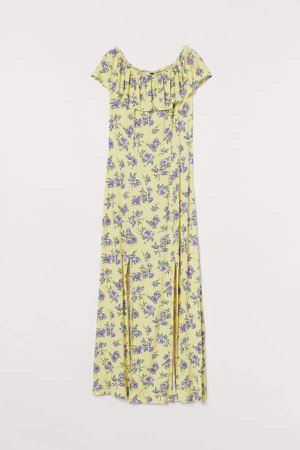 Off-the-shoulder Maxi Dress - Yellow