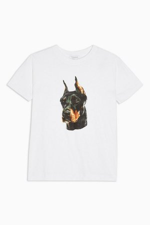 Doberman Dog T-Shirt in White   Topshop