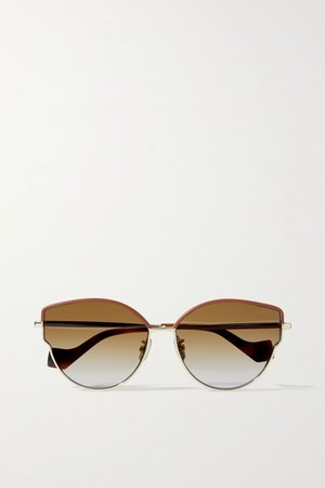 Gold Cat-eye leather-trimmed gold-tone and tortoiseshell acetate sunglasses | Loewe | NET-A-PORTER
