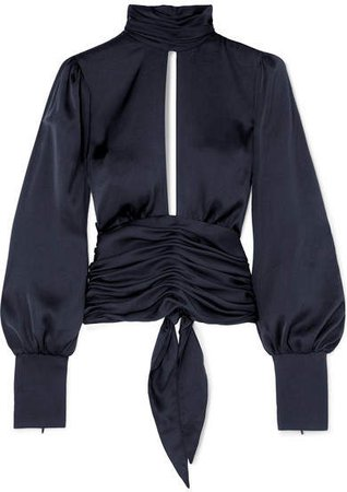 Night Out Open-back Ruched Satin Blouse - Navy