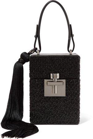 Oscar de la Renta | Alibi tasseled leather-trimmed embellished satin clutch | NET-A-PORTER.COM