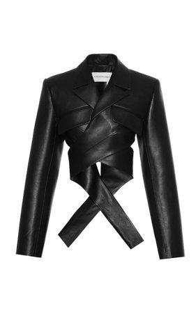 Faux-Leather Wrap Blazer by Aleksandre Akhalkatsishvili | Moda Operandi