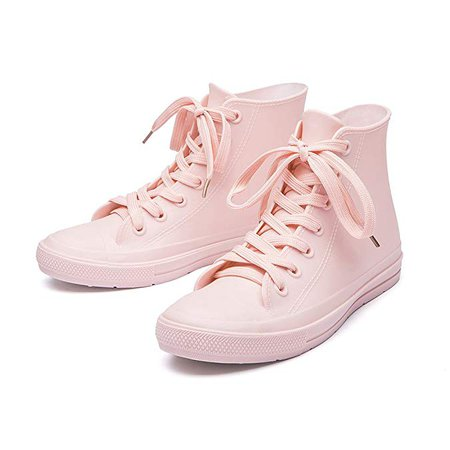 Amazon.com | DKSUKO Women's Rain Boots Waterproof High Top Rain Shoes with Lace Up Anti-Slip Yellow Garden Shoes (10 B(M) US, Pink) | Rain Footwear