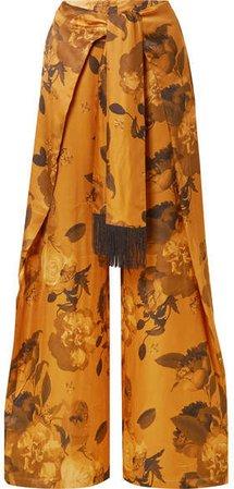 Georgina Tie-front Floral-print Satin Wide-leg Pants - Saffron