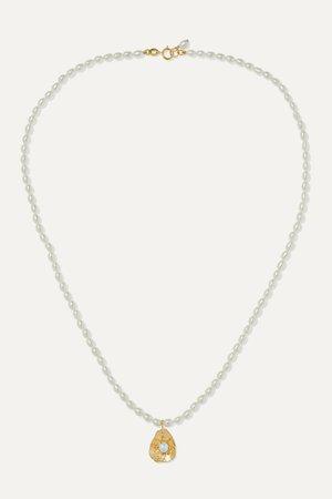Gold 14-karat gold pearl necklace   Poppy Finch   NET-A-PORTER