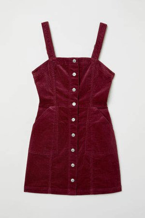 Bib Overall Dress - Red