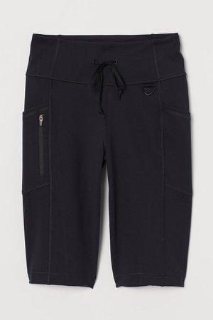 Biker Shorts with Pockets - Black