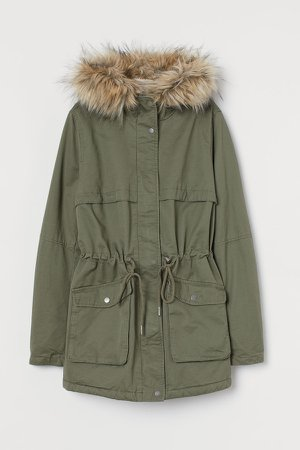 Faux Shearling-lined Parka - Green