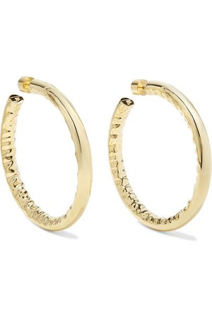 "Jennifer Fisher | 2"" Jennifer gold-plated hoop earrings 