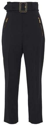 Belted Crepe Straight-leg Pants