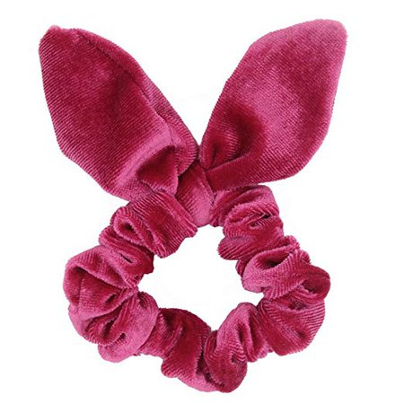 Amazon.com : Set of 2 Bunny Ear Bow Bowknot Ponytail Holder Hair Tie Band Hair Scrunchies (Hot Pink) : Beauty