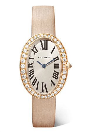 Cartier | Baignoire 24.5mm small 18-karat pink gold, toile brossée and diamond watch | NET-A-PORTER.COM