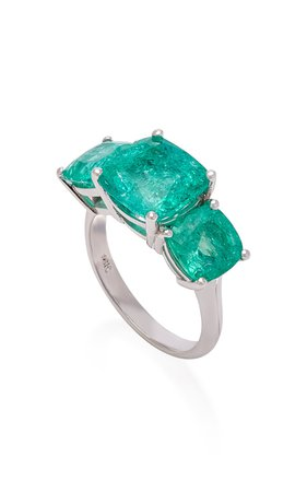 18K White Gold and Emerald Ring by Maria Jose Jewelry | Moda Operandi