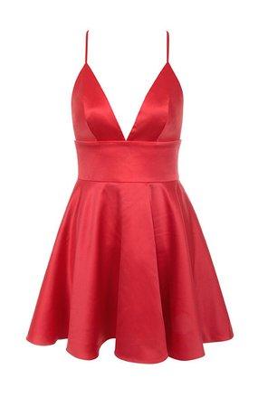 Clothing : Bodycon Dresses : 'Dahna' Red Satin Bralet Mini Dress