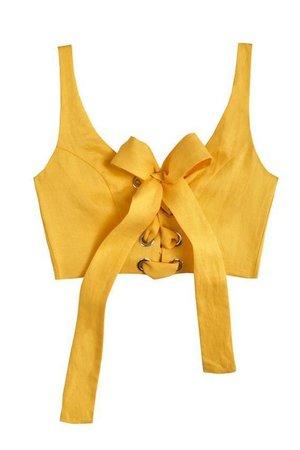 MARA HOFFMAN Yellow Lace up Crop Top Bustier