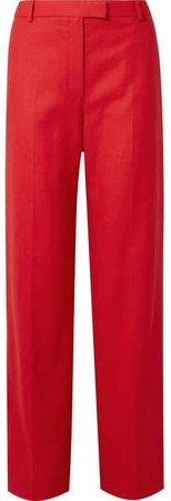 Lada Grain De Poudre Wool Straight-leg Pants - Red