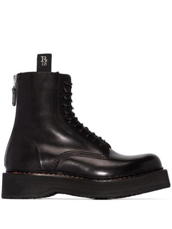 R13 Black Single Stack 40 Leather Boots - Farfetch