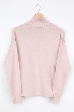 Beige Turtleneck Sweater - Slouchy Sweater - Ribbed Sweater - Lulus