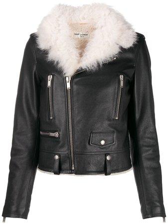 Saint Laurent shearling collar biker jacket