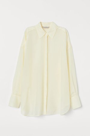 Oversized Silk-blend Shirt - White
