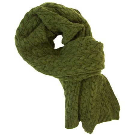 Olive Green Braided Wool & Cashmere Scarf | 40 Colori | Wolf & Badger